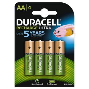 4x Duracell Ultra AA 2500mAh oplaadbare batterijen huren